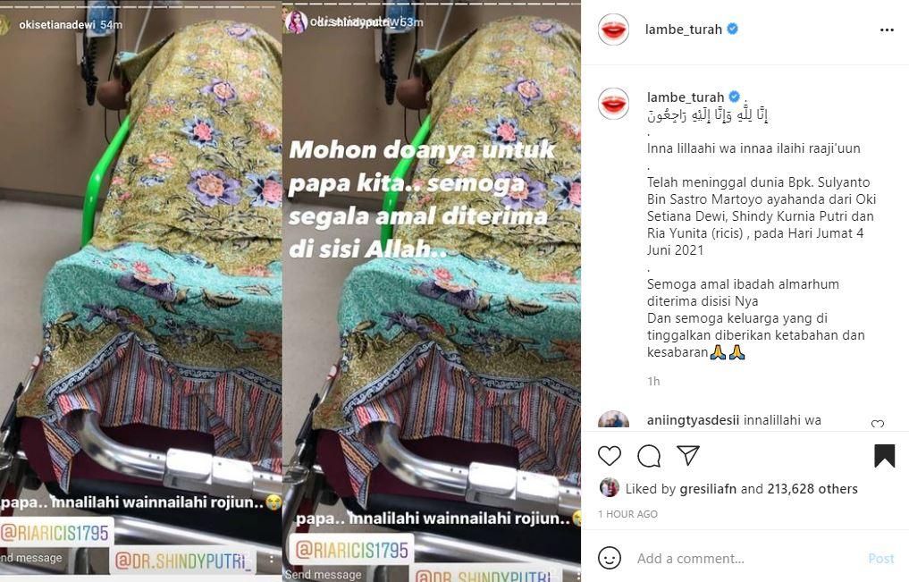 Ayah Oki Setiana Dewi dan Ria Ricis meninggal dunia.