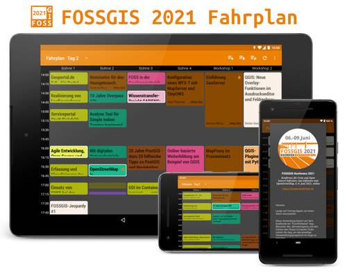 FOSSGIS 2021 Fahrplan App für Android Tablets und Smartphones