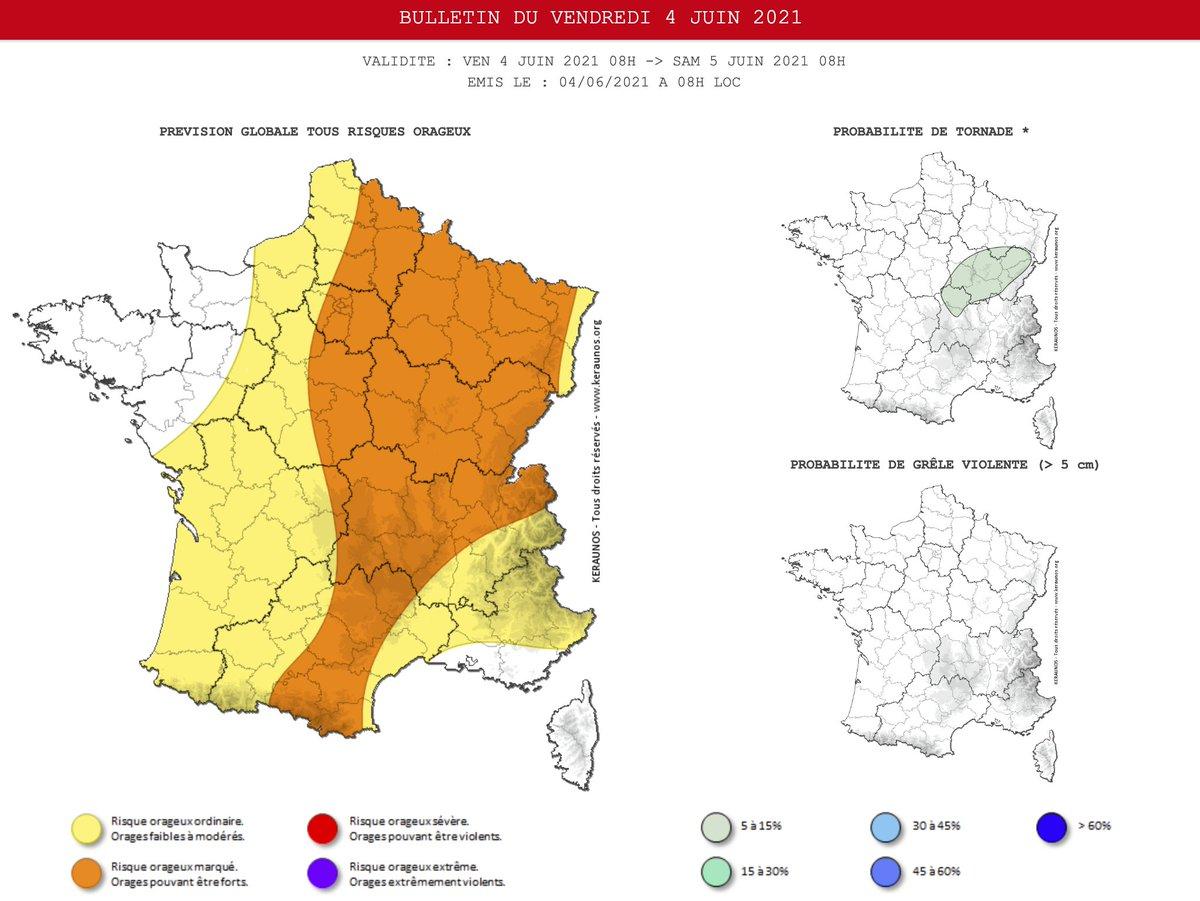 Les #orages se multiplieront ce vendredi sur la majeure partie du pays. Ils seront parfois producteurs de fortes #pluies, #grêle et rafales de 80 à 100 km/h entre l'est des #Pyrénées et les régions du nord-est. Bulletin complet ->