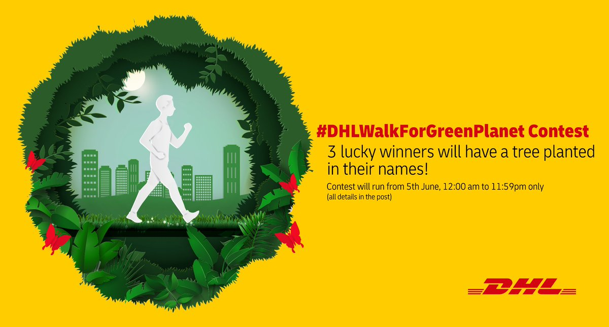 DHL Walk for Green Planet Challenge: -Retweet this post & tag @DHLExpressIndia  -Use an app/band/built-in tracker to track your steps -Walk until you complete 5000 steps -Tweet a picture/screenshot to show us your accomplishment & tag @DHLExpressIndia with #DHLWalkForGreenPlanet https://t.co/PIx8q9MUh0