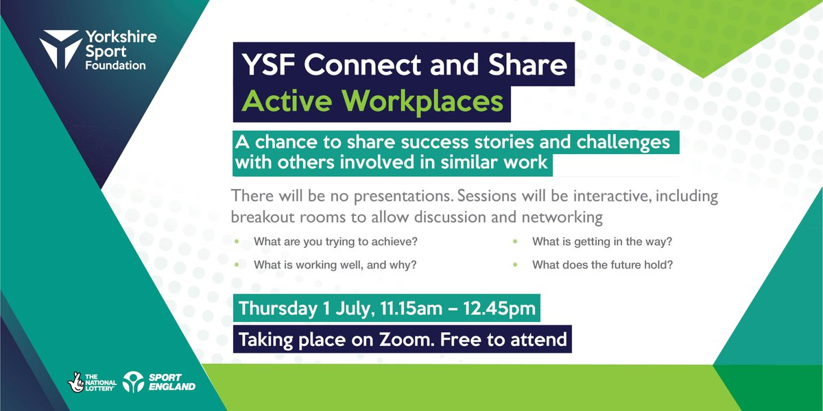 RT @YorkshireSport: We want to provide an opportunity for those supporting people to be active across South Yorkshire and West Yorkshire, to connect with each other and share ideas and experiences.  That's why we're piloting 'YSF Connect and Share' beginning with an active workplaces theme. (1/2)