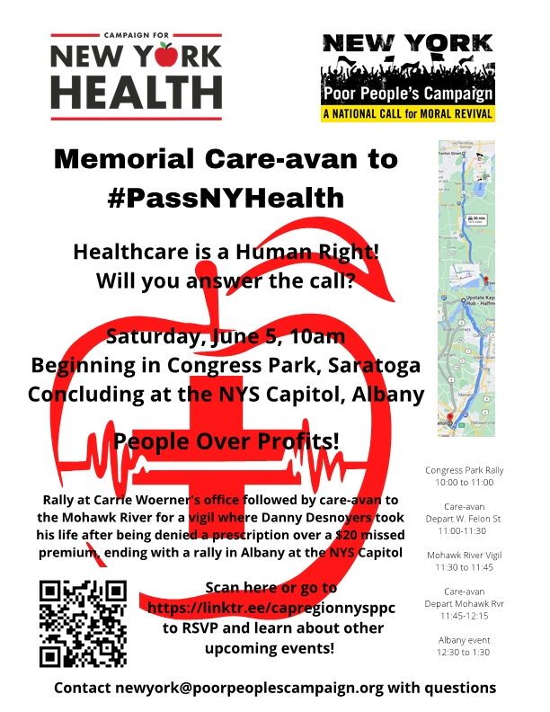 Healthcare is a human right!  In NY we have the chance to rid ourselves of the for-profit insurance industry that took Danny Desnoyer's life over a missed $20 payment.  Join @DesnoyersScott TOMORROW in demanding our lawmakers #PassNYHealth.   Info link: https://t.co/LW36QTFQSb https://t.co/UHf7ol8VdG