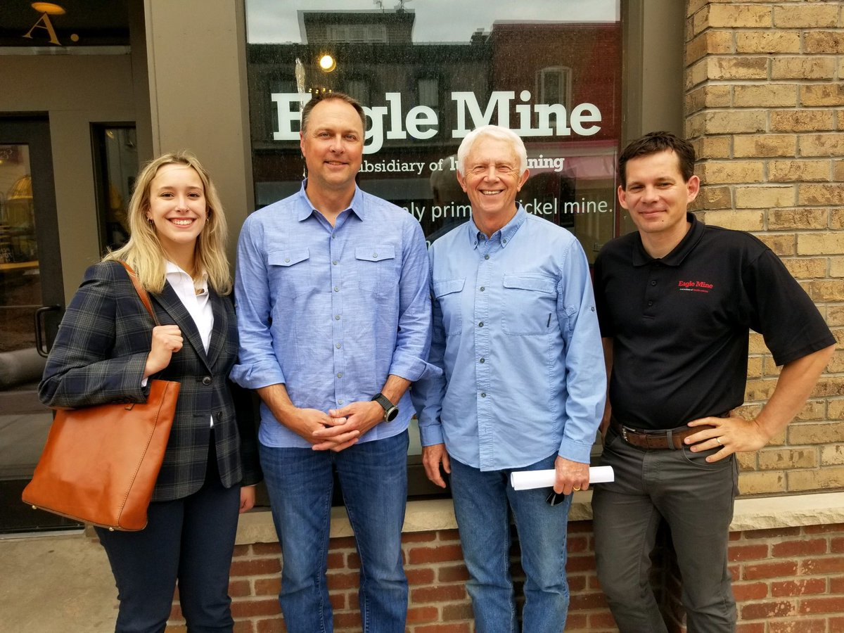 Visited with Eagle Mine leadership in Marquette to continue our conversation about the future and challenges facing our area and the industry.   I will continue fighting against increasingly bad policies that punish miners and impede mineral and energy production in our country. https://t.co/Ec7nD15oD0