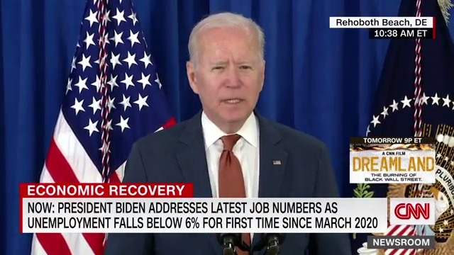 """""""This is historic progress — progress that's pulling our economy out of the worst crisis it's been in in 100 years,"""" President Biden says about the latest jobs report. """"It's testament to the new strategy that is growing this economy ... from the bottom up and the middle out."""" https://t.co/rMrZn4loAq"""
