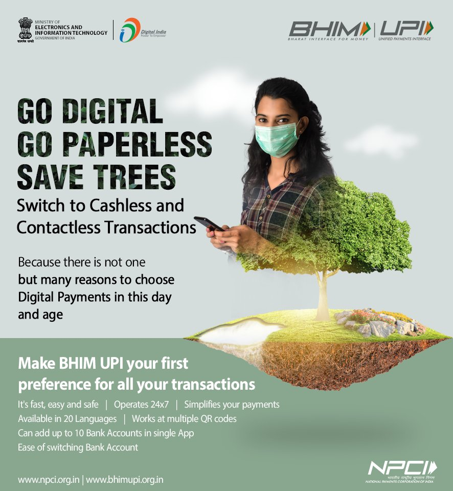 #WorldEnvironmentDay2021 | This #WorldEnvironmentDay, promise yourself to make better habits. Choose digital payments and go cashless. For all your cash transactions, simply opt for pay by @NPCI_BHIM UPI with just one touch on your smartphone. https://t.co/eAgLLkEFtZ