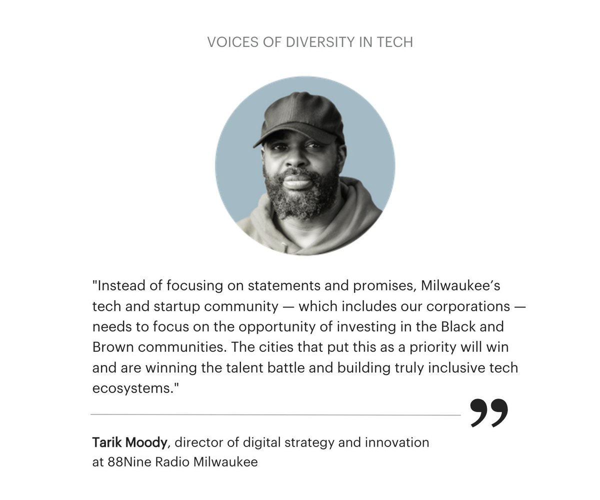 Agreed 💯 Tarik. Actions and results matter more than statements.  Diversity in tech is a national issue that the MKE region has an opportunity to lead on if the business community is intentional about building our tech talent pipeline starting in K12. #MKETech