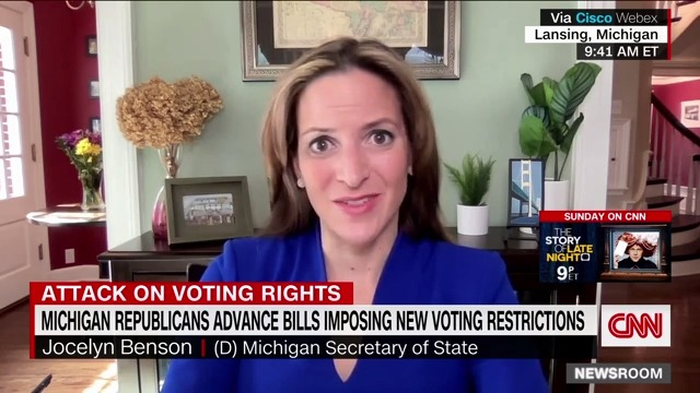 """Michigan Secretary of State Jocelyn Benson says the state's GOP-backed voting bills will replace existing secure ID requirements with ones that do """"nothing to add to the security of the process but only make it more difficult for citizens to vote."""" https://t.co/Q7OiimlKIh https://t.co/18jIqUYXm0"""
