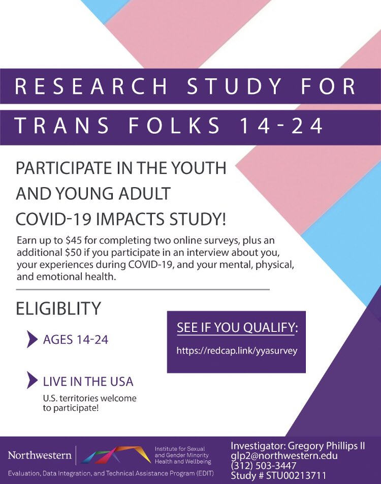 Survey is still up and running if you want to help researchers support trans young people *and* get paid to do it. #centerlink @CenterLink #transyouth #transteen https://t.co/0G0iOB5jvQ