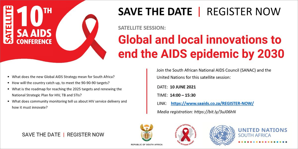 Are you attending the 10th #SAAIDSConference next week? If yes, please don't miss this satellite session hosted by SANAC in collaboration with @UNAIDS_ZAF. #EndAIDSby2030 #EndHIV @CsfSanac @WHOSouthAfrica @CDCSouthAfrica @UNFPASA @HealthZA @The_DSD @HendriettaZ @TakuwaniRiime