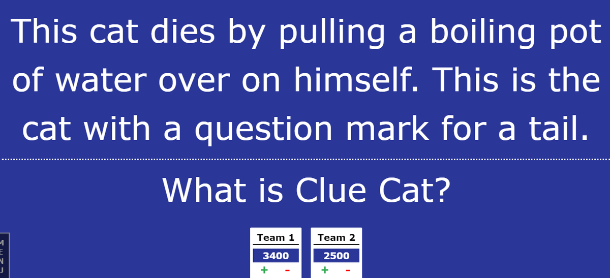 We played a Jeopardy game today to review what we learned from The Thief of Always by Clive Barker <a target='_blank' href='http://search.twitter.com/search?q=hfbtweets'><a target='_blank' href='https://twitter.com/hashtag/hfbtweets?src=hash'>#hfbtweets</a></a> <a target='_blank' href='http://twitter.com/APS_ELA_Elem'>@APS_ELA_Elem</a> <a target='_blank' href='https://t.co/bVpn75Gtmr'>https://t.co/bVpn75Gtmr</a>