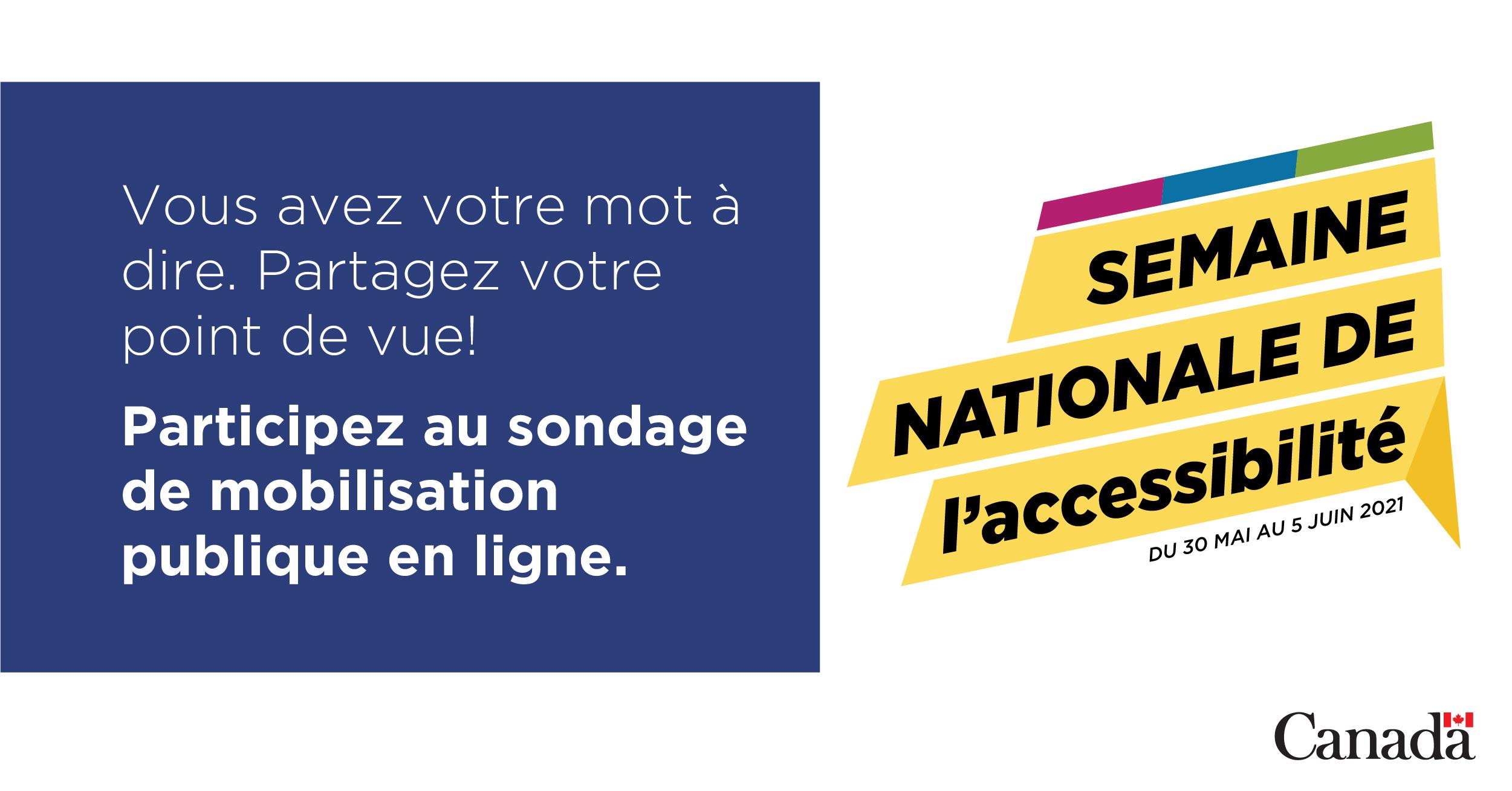 Graphique qui se lit « Vous avez votre mot à dire. Partagez votre point de vue! Participez au sondage de mobilisation publique en ligne. »