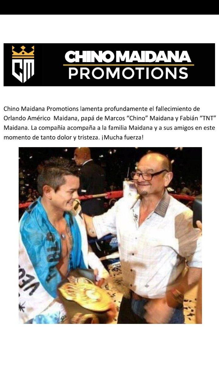 Maidana Promotions informó el deceso del padre de Marcos y Fabián Maidana.