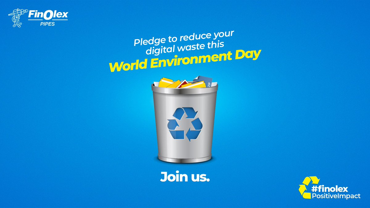 This World Environment Day, Finolex Industries Limited pledges to do its bit to reduce this waste.  Join us in #FinolexPositiveImpact. Here's what you can do: https://t.co/wlA2iHEbFt  #WorldEnvironmentDay #Environment #Nature #Clean #DigitalWaste #Waste #NoPollution https://t.co/rL16cj1MNh