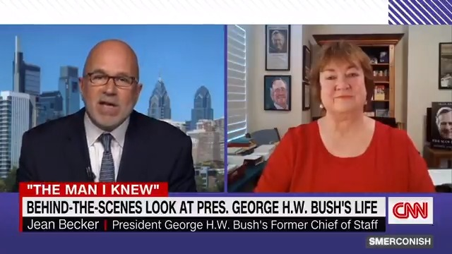 """""""You go frombeing the president and firstlady one day and the next day,you're walking around Sam's Clubpulling a pulley cart.""""  Jean Becker, President George H.W. Bush's former chief of staff, tells @smerconish about some behind-the-scenes moments in Bush's life. https://t.co/RkdBxJ1EIb"""
