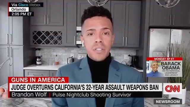 """""""No insulting comparisons to a Swiss Army knife is going to take away the pain that these weapons have caused so many people in this country,"""" Brandon Wolf, a Pulse shooting survivor, says after a federal judge overturned California's assault weapons ban. https://t.co/weDYZ2Cz2a https://t.co/kX5zEyq3hG"""