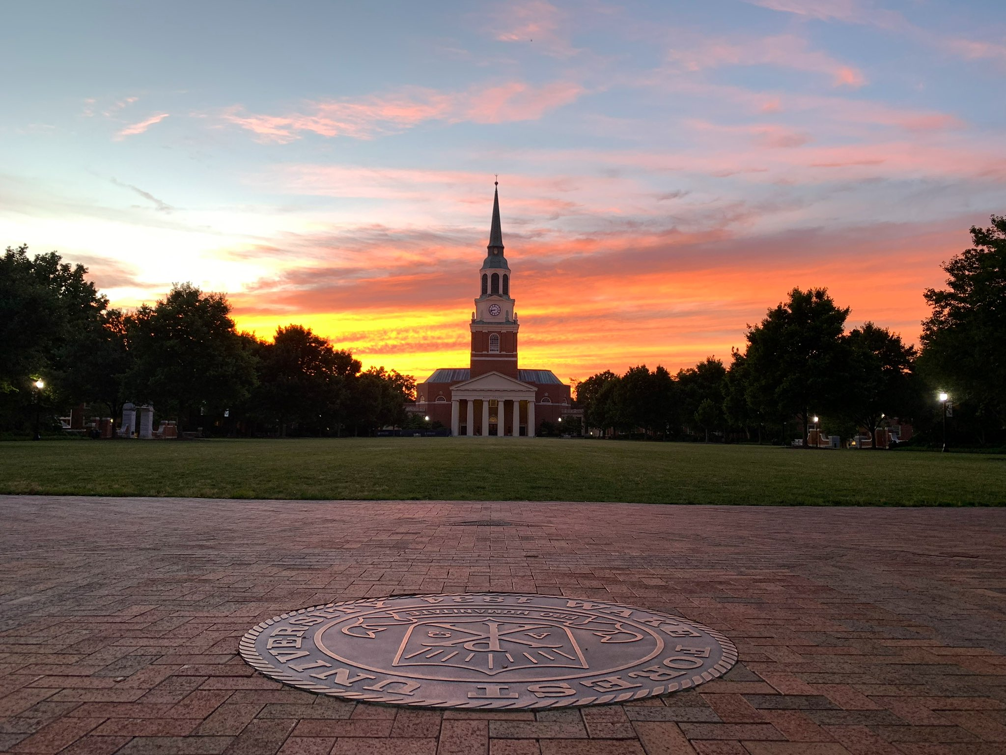 Sunset behind Wait Chapel at Wake Forest.