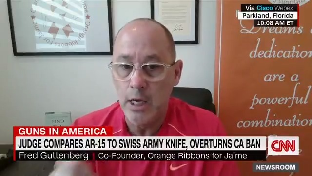 """A federal judge, who compared an AR-15 to a Swiss Army knife, overturned California's ban on assault weapons. """"My daughter's ina cemetery…because a Swiss Army knife was notused.Because it was an AR-15,"""" says Fred Guttenberg, whose daughter was killed in the Parkland shooting. https://t.co/J19JKzPwPC"""