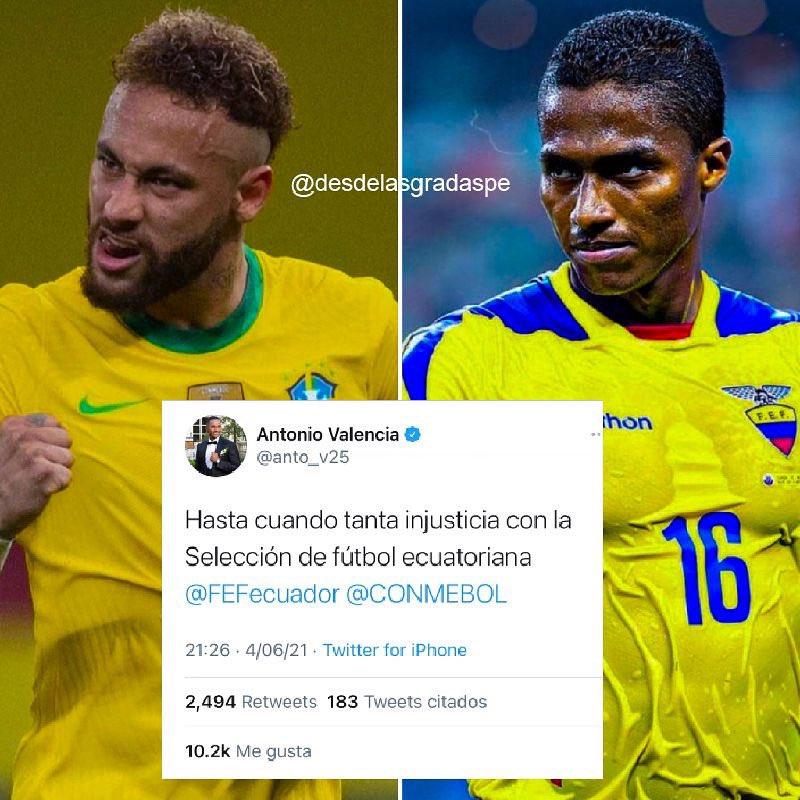 🔥¡ALZA SU VOZ DE PROTESTA!🔥 #AntonioValencia 🇪🇨, ex capitán de la Selección Ecuatoriana, crítico vía redes el desempeño del VAR ante Brasil 🇧🇷 tras repetir el penal de #Neymar. https://t.co/5B6WbF0zq4