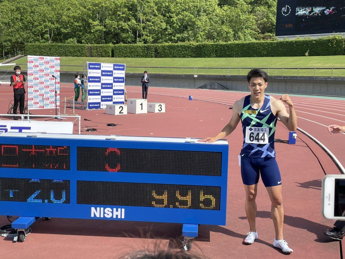 【#布勢スプリント】 男子100m A決勝(+2.0)   #山縣亮太 9.95 日本新記録達成❗️