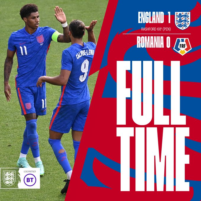 Skor akhir Inggris 1-0 Rumania