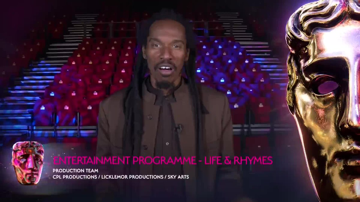 """""""Thank you so much @SkyArts for being so brave and so pioneering, putting on British TV the first spoken word poetry show""""  Giving voice to a community that needs to be heard with Life & Rhymes. #VirginMediaBAFTAs https://t.co/bKhz9uaxPR"""