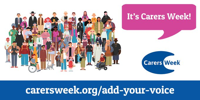 A graphic of a large crowd of people with a pink speech bubble to the right that says 'It's Carers Week!'. The Carers Week logo is to in the bottom right corner.