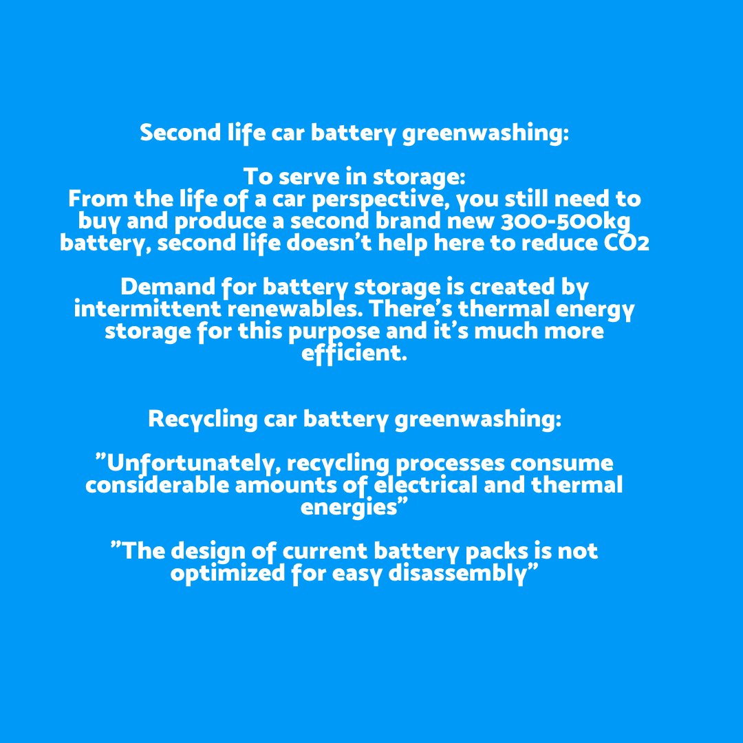 """Recycling? It doesn't work either. 1st step is to Reduce.Recycling electric car battery greenwashing is a new trend:""""Unfortunately, recycling processes consume considerable amounts of electrical and thermal energies""""1  http://bit.ly/3f9NWu72  https://go.nature.com/3d2o8xC"""