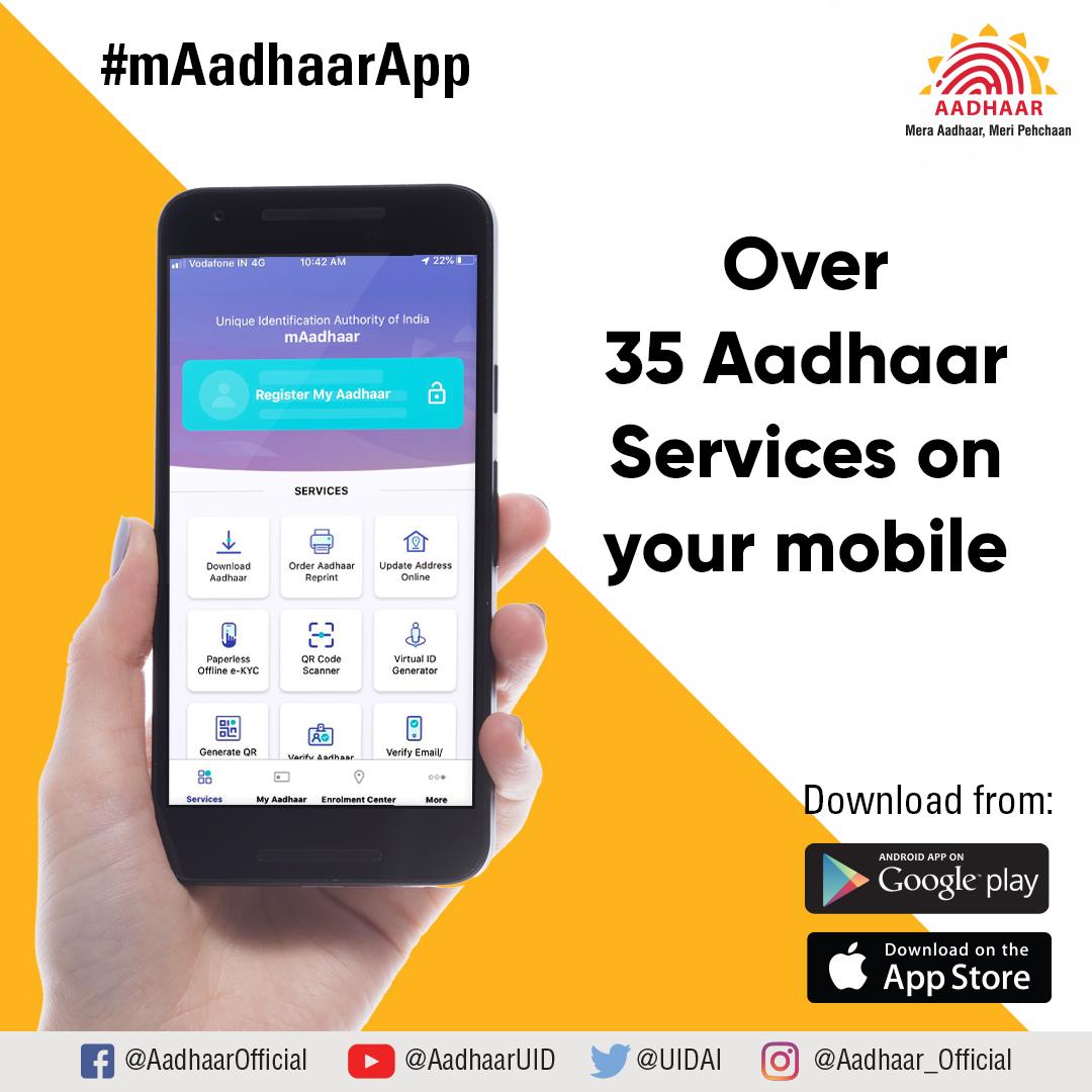 test Twitter Media - Get over 35 Aadhaar services like download Aadhaar, status check, order Aadhaar reprint, locate Aadhaar Kendra etc. on your smartphone. Download the #mAadhaarApp from:  https://t.co/62MEOeR7Ff (Android)  https://t.co/GkwPFzuxPQ (iOS) https://t.co/A5XA44qXtB