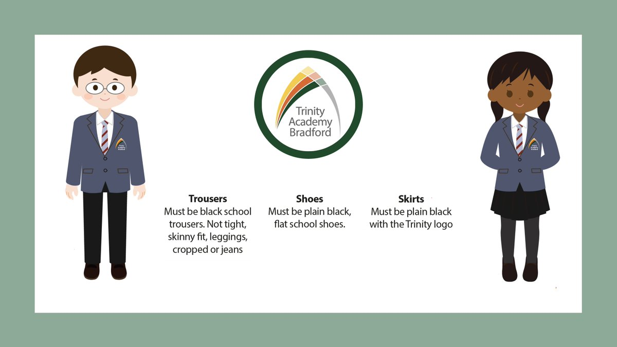 We're excited to get @TrinityAcadBrad students into their new uniforms! Our full Uniform Policy & suppliers' details who stock our Trinity items will be shared in mid-June. Students will get a blazer & a tie, and a voucher will be handed out to contribute to other items 👔