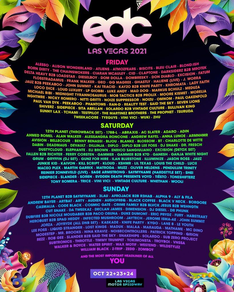 EDC Las Vegas lineup 2021