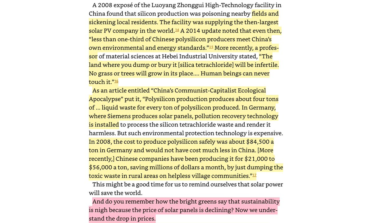"""Why Solar is """"cheap""""? Because Australia exports there lots of coal. China smelts solar with silicon & coal. Sends back to AU, EU, US.The reason why: China dumps toxic waste into the land. And it's plain dead after. No life. No grass. No insects. Nothing."""