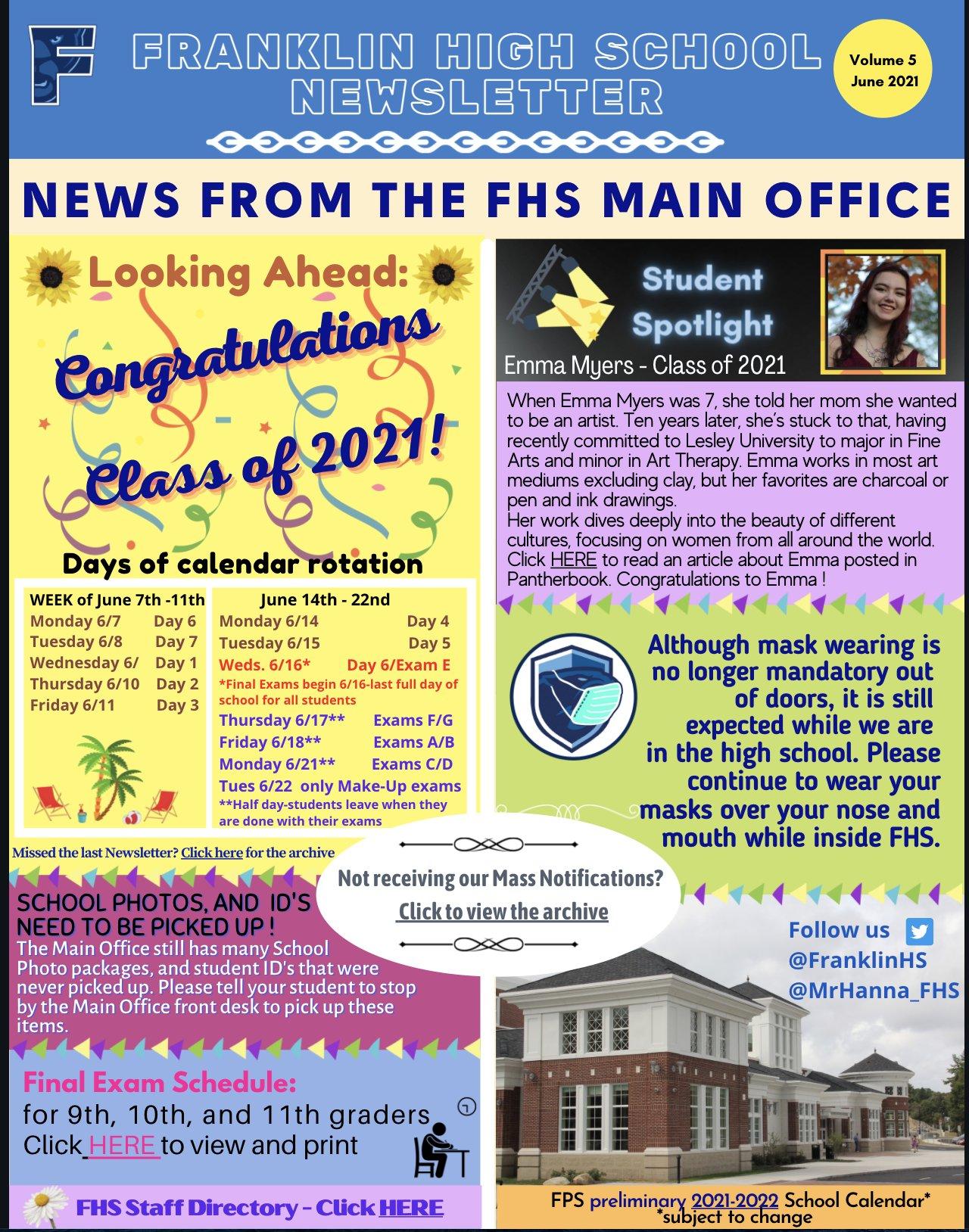 Franklin High School: Newsletter