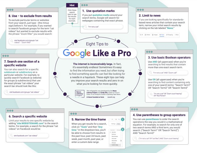 @NewsLitProject - 8 tips to Google like a Pro