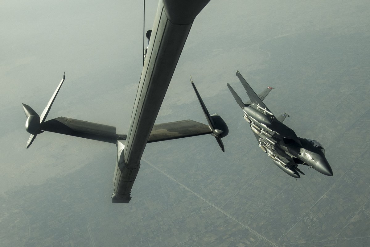 An @usairforce KC-10 refuels an F-15E Strike Eagle  during a mission in the @CENTCOM AOR. Air refueling is critical to agile combat employment because it extends the aircraft's range and duration of flight. #TogetherWeDeliver #NKAWTG @AirMobilityCmd @USAFCENT @48FighterWing https://t.co/H29P5jMHvL