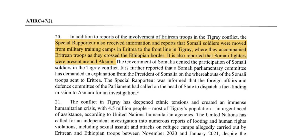 Interesting snippet from the upcoming UN rights report on Eritrea. The UN rapporteur says he received information that Somali troops were indeed moved from military camps in Eritrea to Tigray and were present around Axum city. https://t.co/yg7xcpk5VF