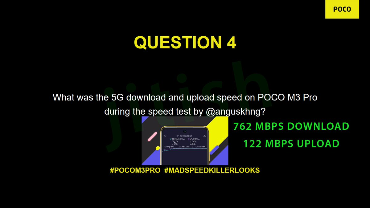 @IndiaPOCO 762Mbps download speed and 122Mbps upload speed on POCO M3 Pro during the speed test by  @anguskhng #POCOIndia #POCOM3Pro #MadSpeedKillerLooks https://t.co/h1vLQUytGV