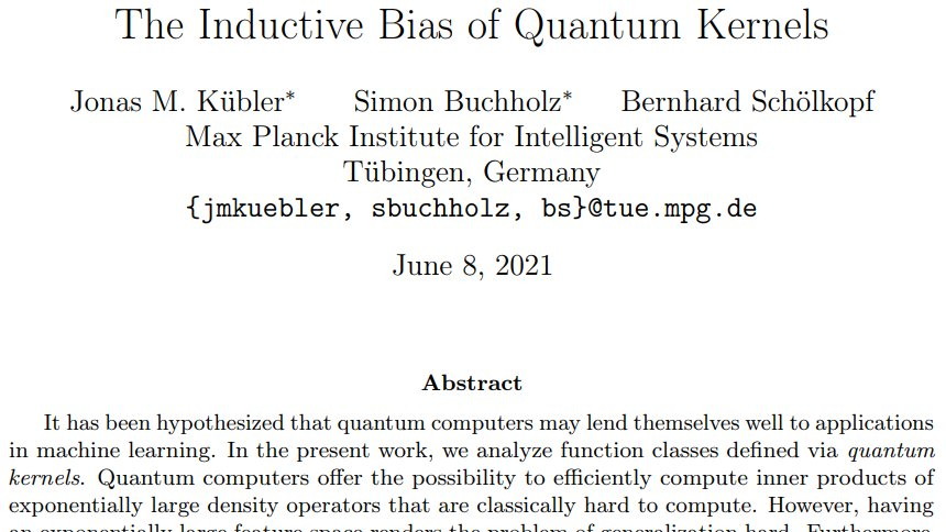 🧐 Can Quantum Machine Learning Models outperform classical ML models? We worked on a few steps towards answering this question: arxiv.org/abs/2106.03747 with Simon Buchholz and @bschoelkopf a Thread 📜 1/8