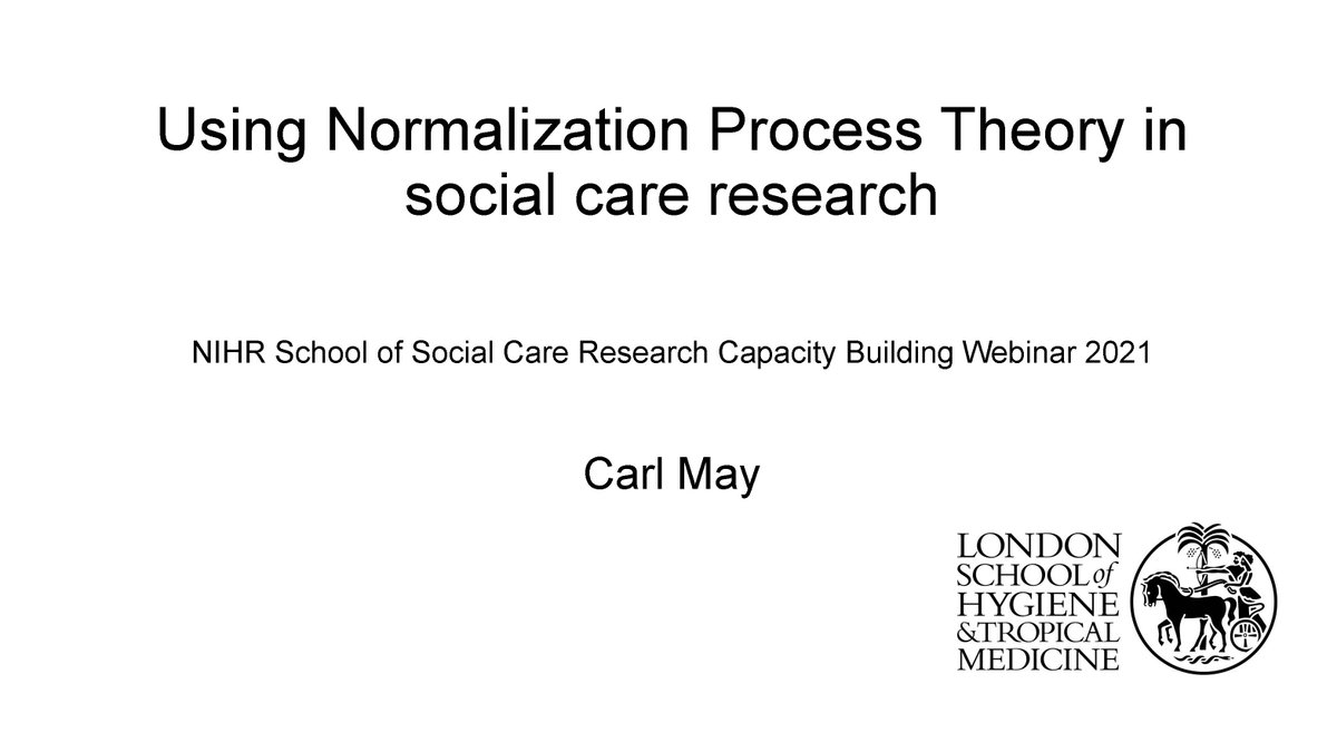 Here is a talk I gave earlier in the year that sets out a basic introduction to Normalization Process Theory and its application to implementation research in health and social care. Perhaps you'll find it interesting or even useful... https://t.co/Tau8JfyUwy