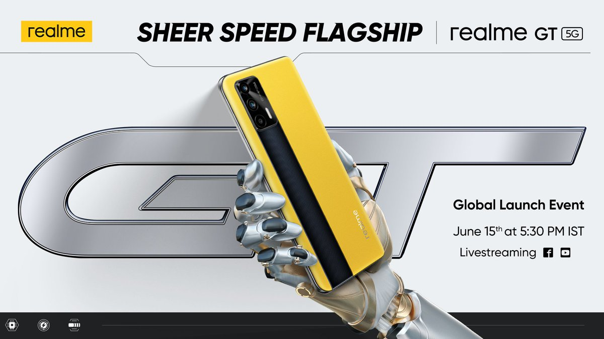 The #FlagshipKiller2021 is coming! The #realmeGT is making its Global Grand Debut on 15th June.   Mark the date and get ready to witness the #SheerSpeedFlagship. RT if you are excited. https://t.co/yfhzExRS7u