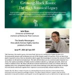 """""""The Deadly Messengers: How plants harness highly reactive products of stress"""" lecture is TONIGHT @jade_bleau will be presenting her phenomenal research at 7 EST as part of the Growing Black Roots Scientist Lecture series @HFandG @BlkBotanistsWk Register https://t.co/ZIy6GCaMOj"""