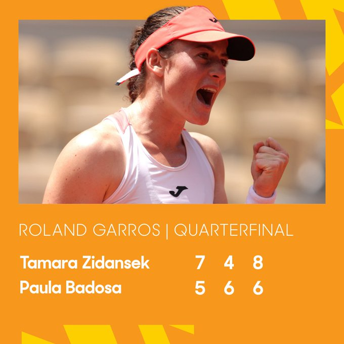 Tamara Zidansek of Slovenia celebrates in their ladies singles quarter final against Paula Badosa of Spain during day ten of the 2021 French Open at Roland Garros on June 08, 2021 in Paris, France.