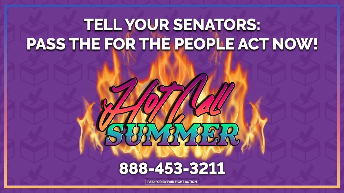 As temperatures rise this summer, we're turning up the heat and calling our Senators every 👏🏾 single 👏🏾 day 👏🏾 to demand they pass the #ForThePeopleAct. Grab a phone and a friend; it's time for 🔥 #HotCallSummer 🔥#S1 #HR1 https://t.co/E24H4IG7Qf
