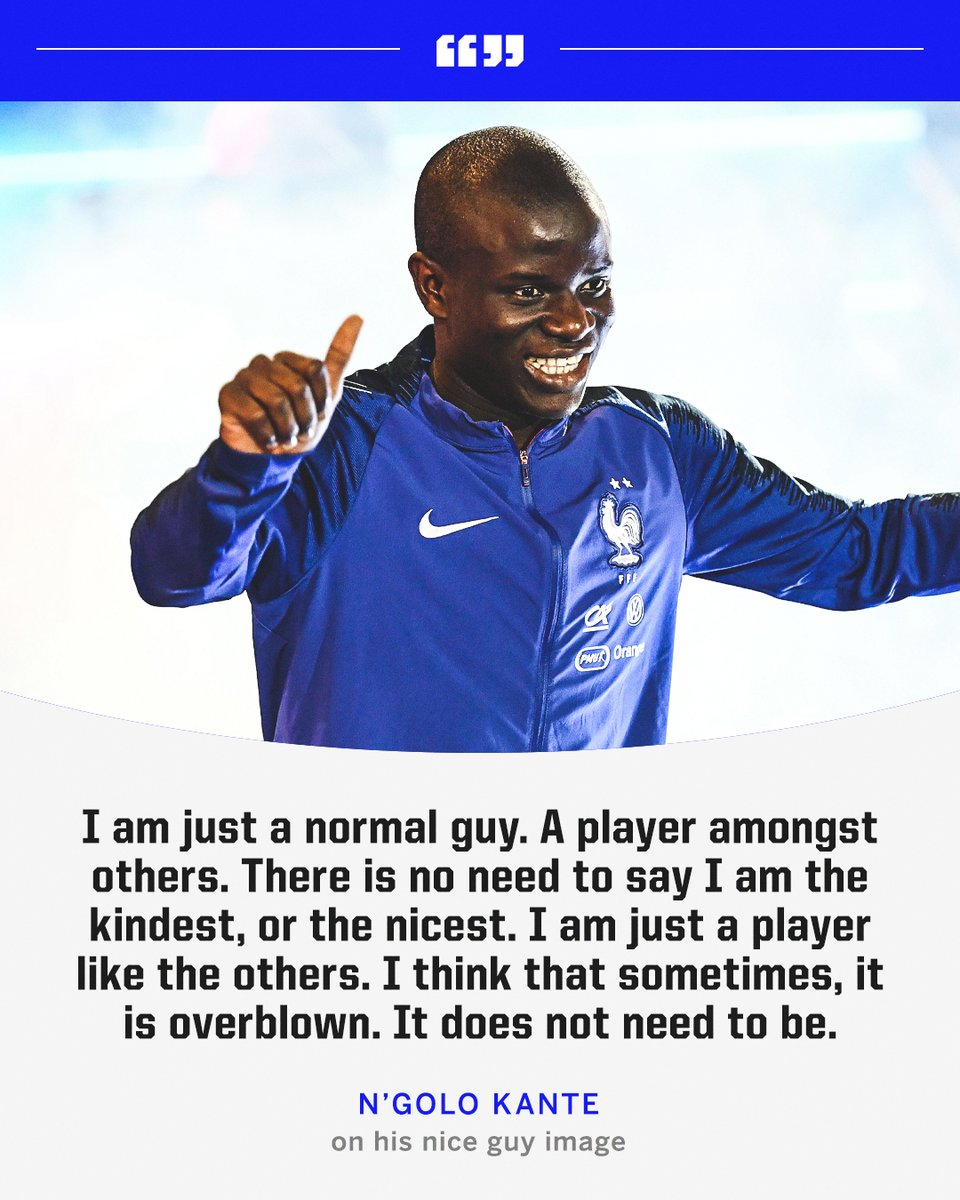 N'Golo Kante doesn't think he's anything special 🥺 https://t.co/9hSr47PvhL