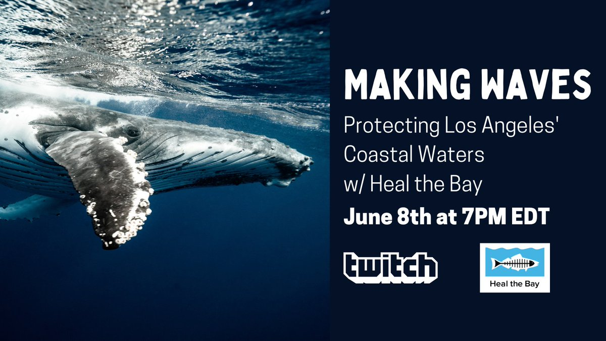 Ripples can become waves🌊  By mobilizing LA's diverse communities, @HealtheBay is working to protect and restore the Santa Monica Bay for ALL.   Celebrate #WorldOceanDay by tuning in to a charity stream benefiting their OUTSTANDING work 🐋  TONIGHT!   7PM EDT https://t.co/HzueDp8iRk