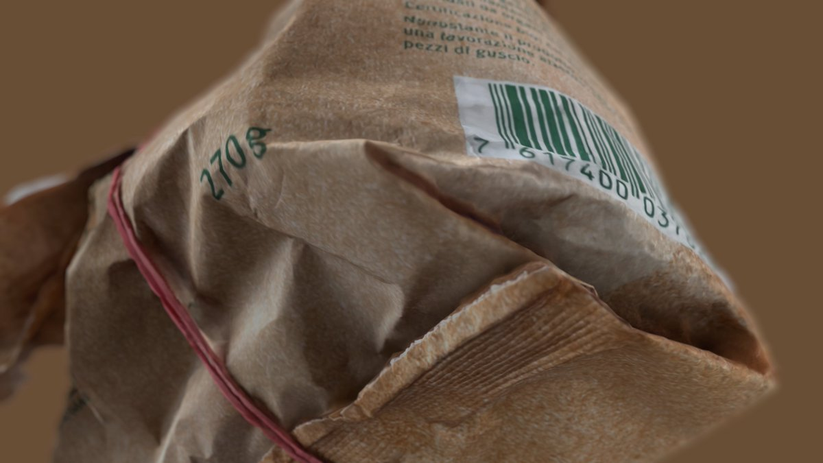 Awesome texture & depth detail with object capture of crumpled paper bag #usdz #Realitycomposer