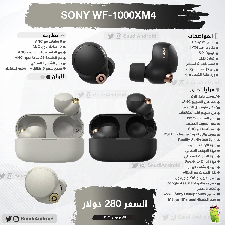 انفوجرافيك : مواصفات & مميزات سماعة سوني WF-1000XM4