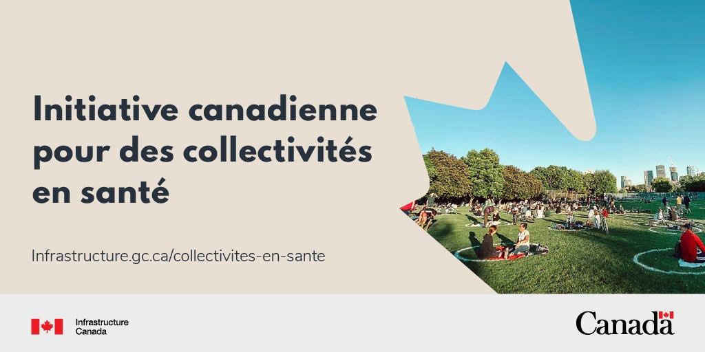 Photo d'un parc. Texte: L'Initiative canadienne pour des collectivités en santé.