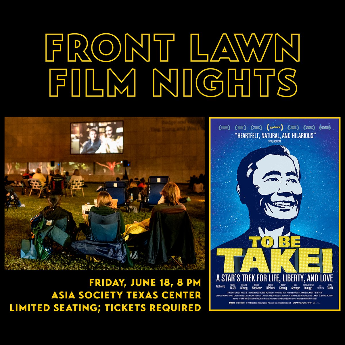 Join us this month as we close out our Front Lawn Film Nights series with 'To Be Takei' on June 18 and 'Crouching Tiger, Hidden Dragon' on June 25 — plus, complimentary beer from @karbachbrewing! Seating is limited; reserve your lawn seating pod soon! » https://t.co/gN70wop0Ai https://t.co/6KVmIqvsWj