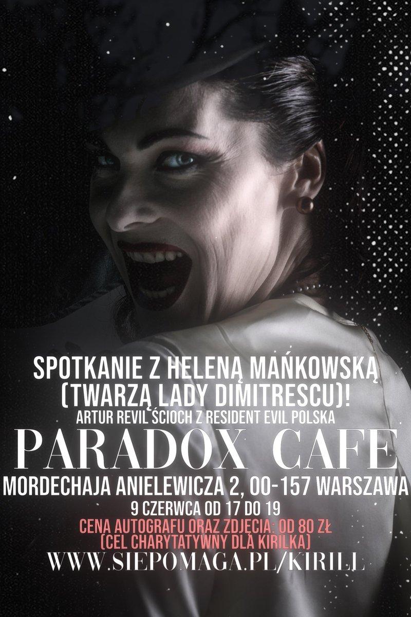 (1/4) W środę, 9 czerwca w godzinach 17:00 - 19:00 Helena Mańkowska, która użyczyła swojej twarzy Lady Dimitrescu w Resident Evil Village będzie gościem specjalnym w Paradox Cafe, która mieści się przy ulicy Mordechaja Anielewicza 2 w Warszawie.   #AlcinaDimitrescu #Warszawa https://t.co/kBwcFV9CPW