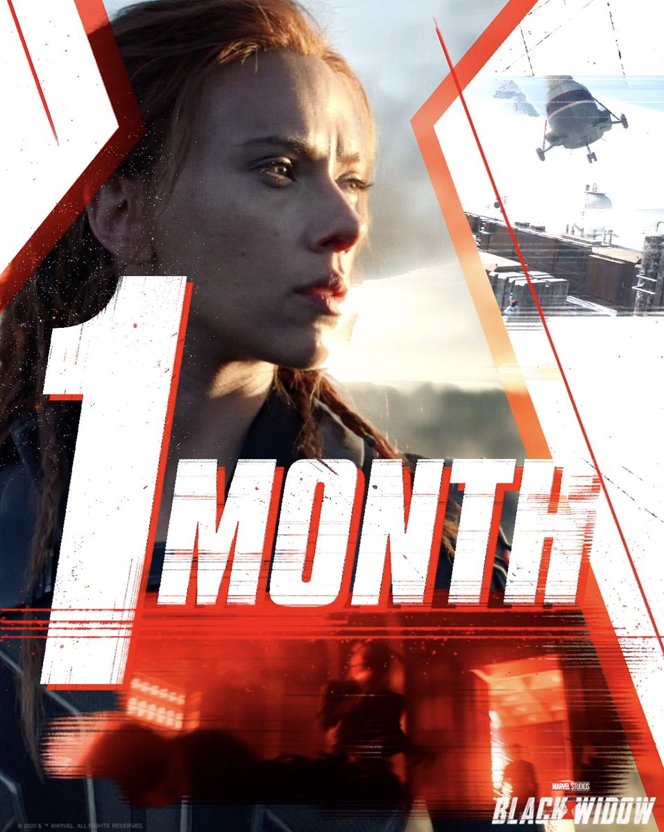In One Month, Marvel Studios' #BlackWidow arrives 💥 Experience it in theaters or on @DisneyPlus with Premier Access July 9. Additional fee required. https://t.co/qzy56Wqu2I